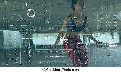 corde, femme, traitement, données, numérique, interface, sauter, contre