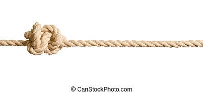 corde, fond blanc, isolé, noeud