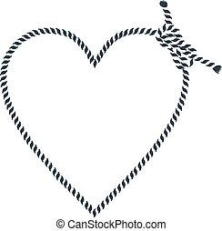 corde, forme coeur, fait