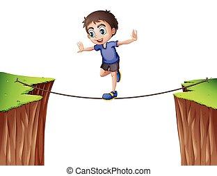 corde, garçon, équilibrage