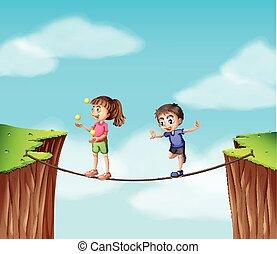 corde, garçon, girl, falaise