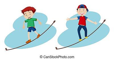 corde, garçons, marche, deux