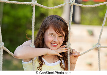 corde, girl, cour de récréation, penchant