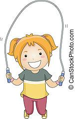 corde, girl, sauter