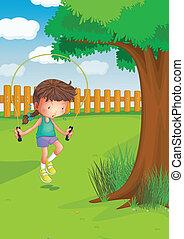 corde, girl, sauter, jardin, jouer