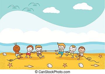 corde, gosses, plage, jouer, heureux