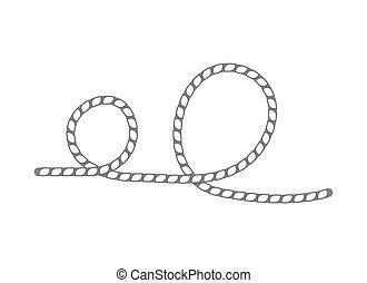 corde, lasso, vecteur, isolé, icône
