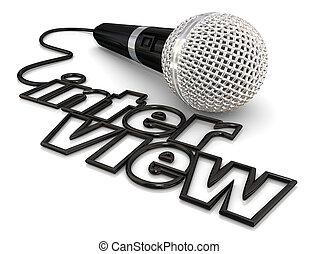 corde, microphone, fil, mot, discussion, radio, entrevue, ...