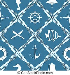 corde, modèle, seamless, nautique