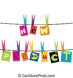 corde, nouveau produit, lettres, pendre
