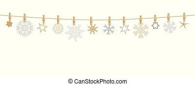 corde, or, pendre, argent, flocons neige