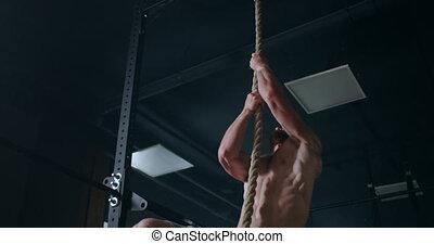 corde, pendant, montée, fort, top., coordination., exercice, hommes, endurance, formation, rescuers.