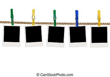 corde, photos, cinq, blan