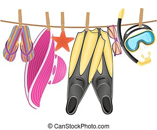corde, plage, accessoires, pendre