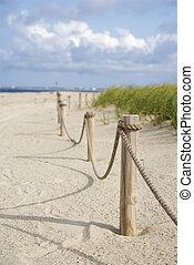 corde, plage., barrière