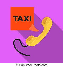 corde, plat, style, illustration., combiné, jaune, bitmap, unique, station, appeler, taxi, icône, symbole, stockage