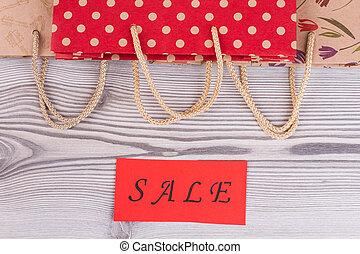 corde, sacs, papier, achats, handles.