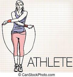 corde, saut, formation, femme, illustration