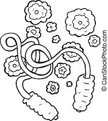 corde, sauter, blanc, noir, dessin animé