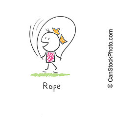 corde, sauter, girl