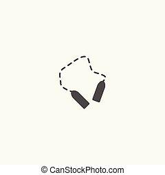 corde, sauter, noir, vector., ligne, icône