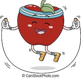 corde, sauter, pomme, mascotte