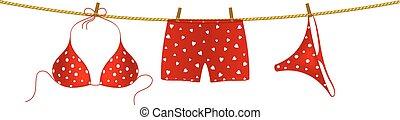corde, short, boxeur, rouges, bikini
