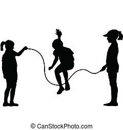 corde, silhouettes, sauter, enfants