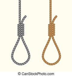 corde, suicide, loop., hangmans, pénalité, mort, pendre, corde à piquet, knot.