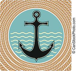 corde, symbole, ancre, décoration, fond, nautique, blanc, cadre
