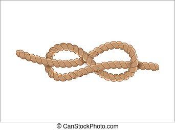 corde, symbole, noeud, nautique