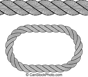 corde, symbole, vecteur, noir, seamless