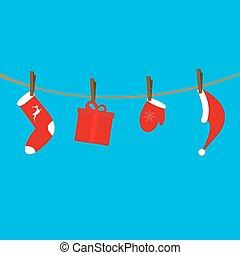 corde, vêtements, claus, santa, pendre