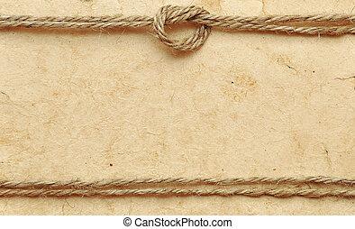 corde, vieux, papier, frontière