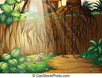 corded, escalera, selva