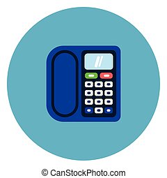 Corded Icon On Blue Round Background