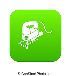 Corded jig saw icon green