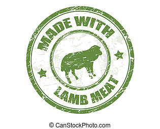 cordeiro, selo, feito, carne