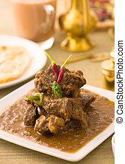 cordero, alimento, korma, indio, curry