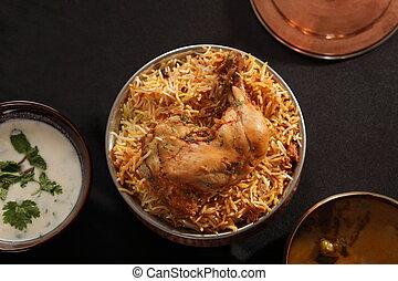 cordero, basado, -, biryani, popular, pollo, hyderabadi, o
