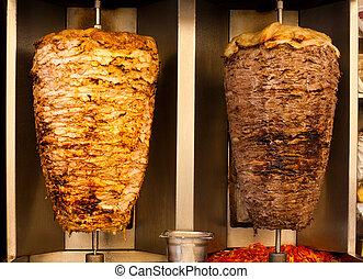 cordero, carne, alimento, shawerma, rápido, pollo