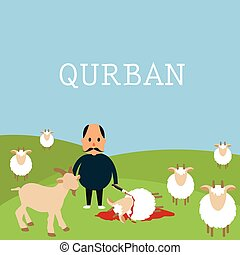 cordero, ganado, udhiyyah, sacrificio, qurban, idul, al-adha, adha, mate, eid, animal, durante, goat, islam