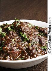 cordero, mangsho, -, tradicional, curry., bengali, kasha