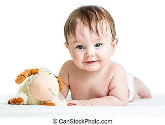 cordero, niño, juguete, barriguita, bebé, acostado