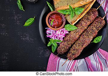 cordero, sauce., kebab, carne de vaca, cima, adana,...