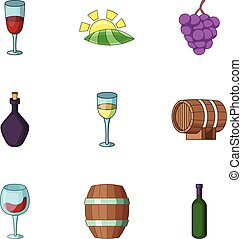 Cordial icons set, cartoon style - Cordial icons set....