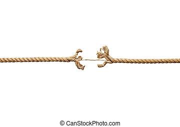 cordicella, danneggiato, corda, rischio
