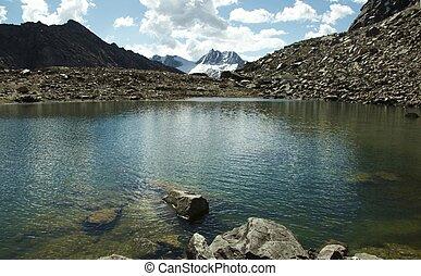cordillera, lago, montanha, bonito