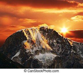 cordilleras, 山, 上, 傍晚