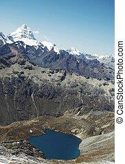 Cordilleras mountain_1 - Blue lake and high snow mountain in...